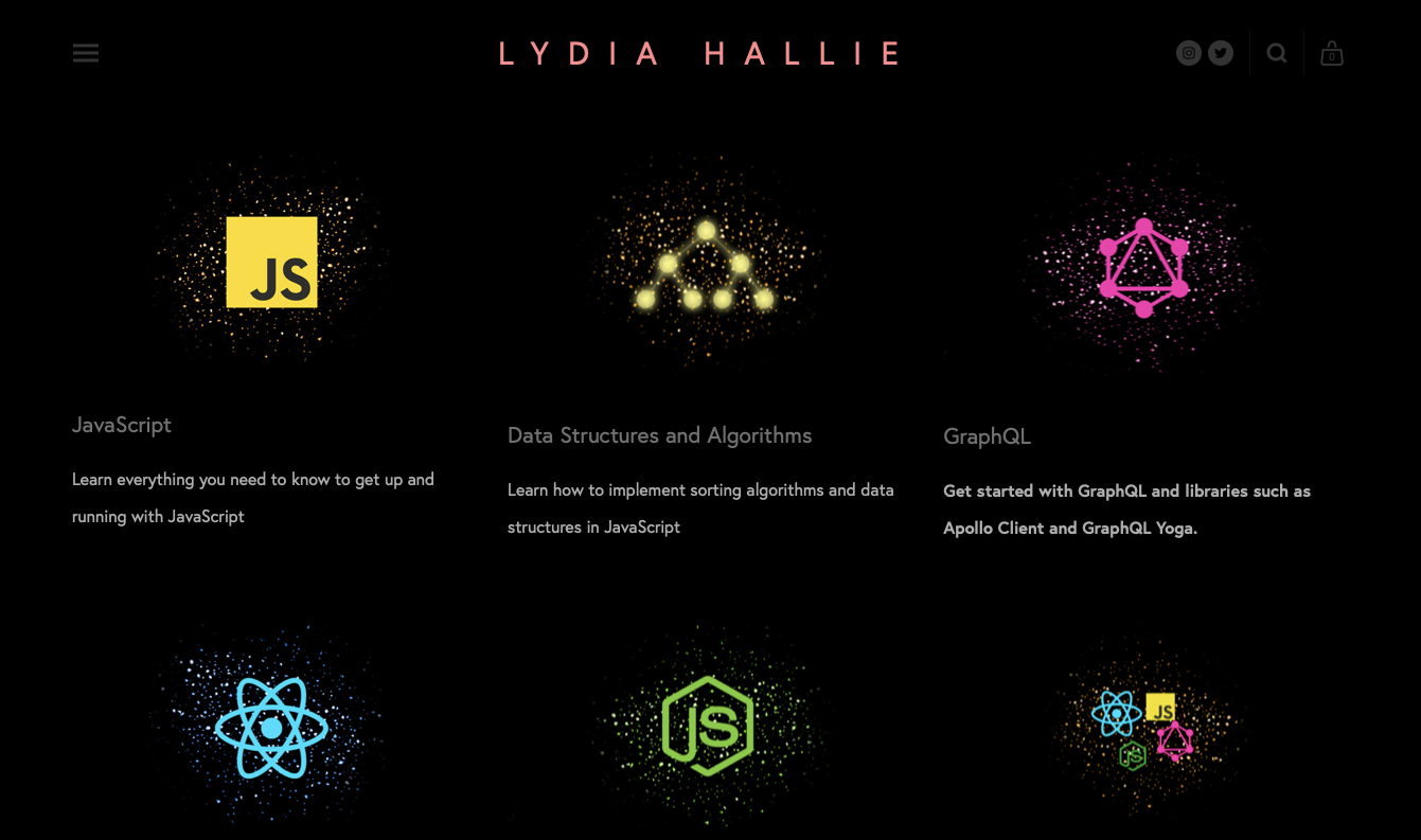 Lydia Hallie website featuring tech she uses