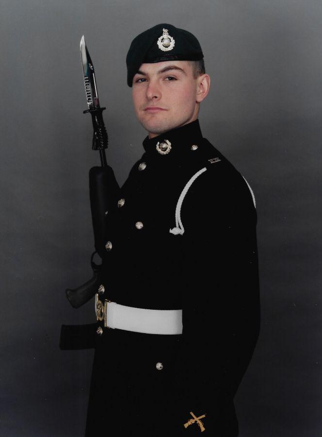 Ben, Royal Marine, with gun