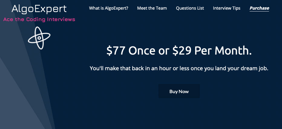 Screnshot of AlgoExpert website