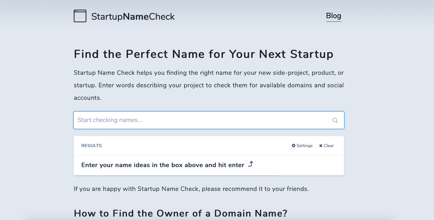 Screenshot of Startup Name Check