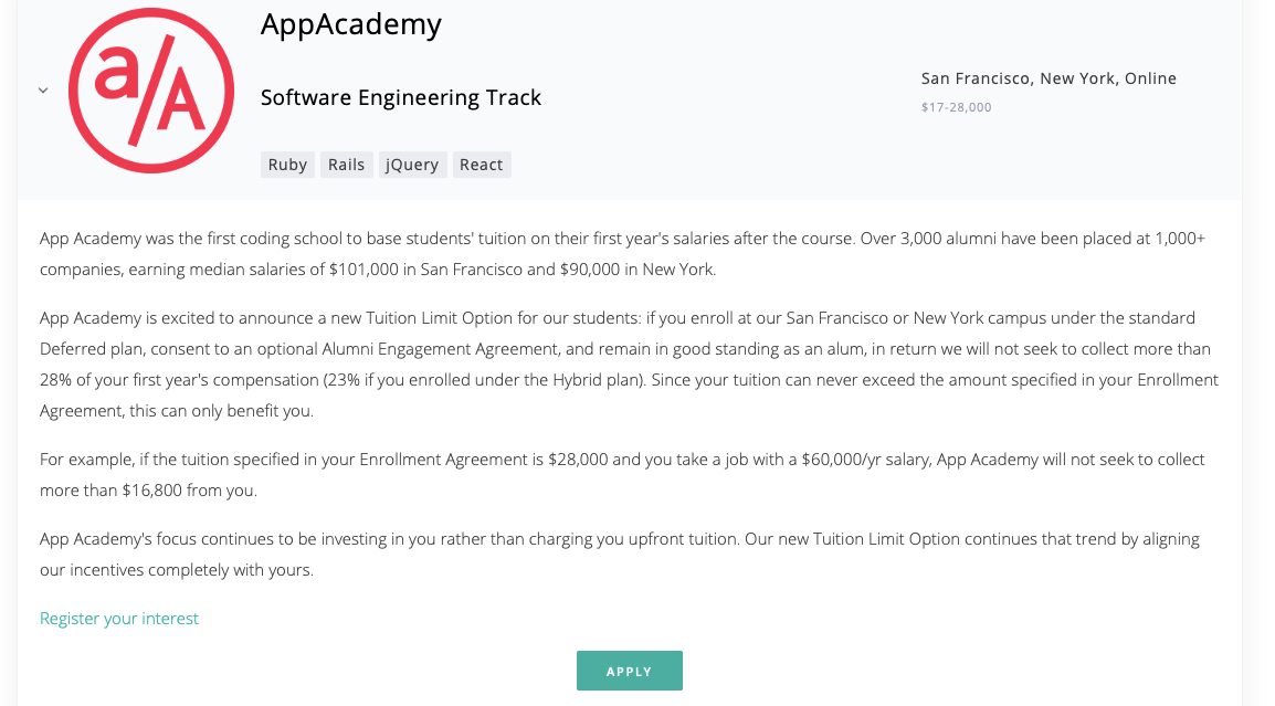 App Academy profile on Bootcamp Index